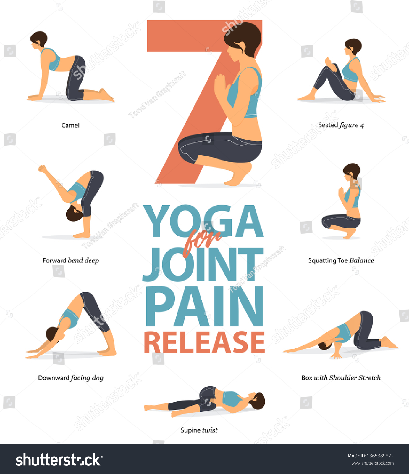 Set Yoga Postures Female Figures Infographic Stock Vector Royalty Free 1365389822