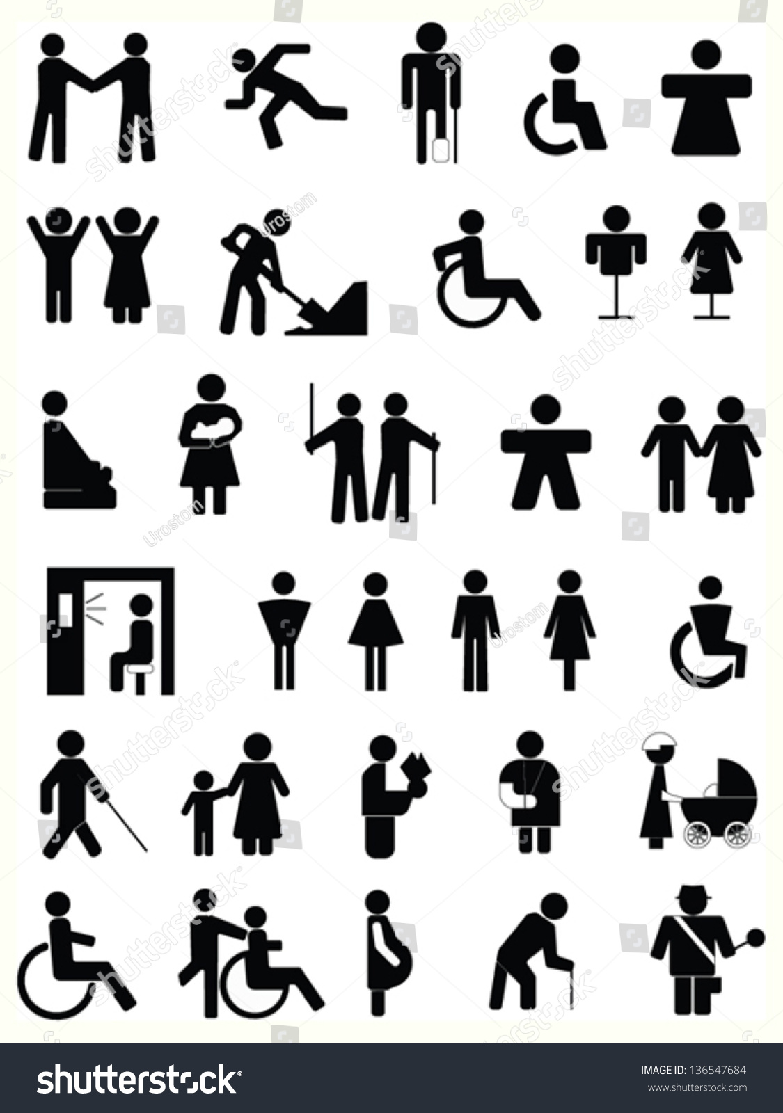 People Symbols Signs Stock Vector Royalty Free 136547684