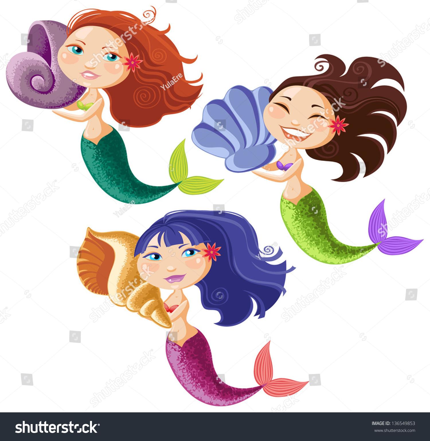 Animated Pictures Of Seashells funny cartoon mermaids seashells stock vector (royalty free