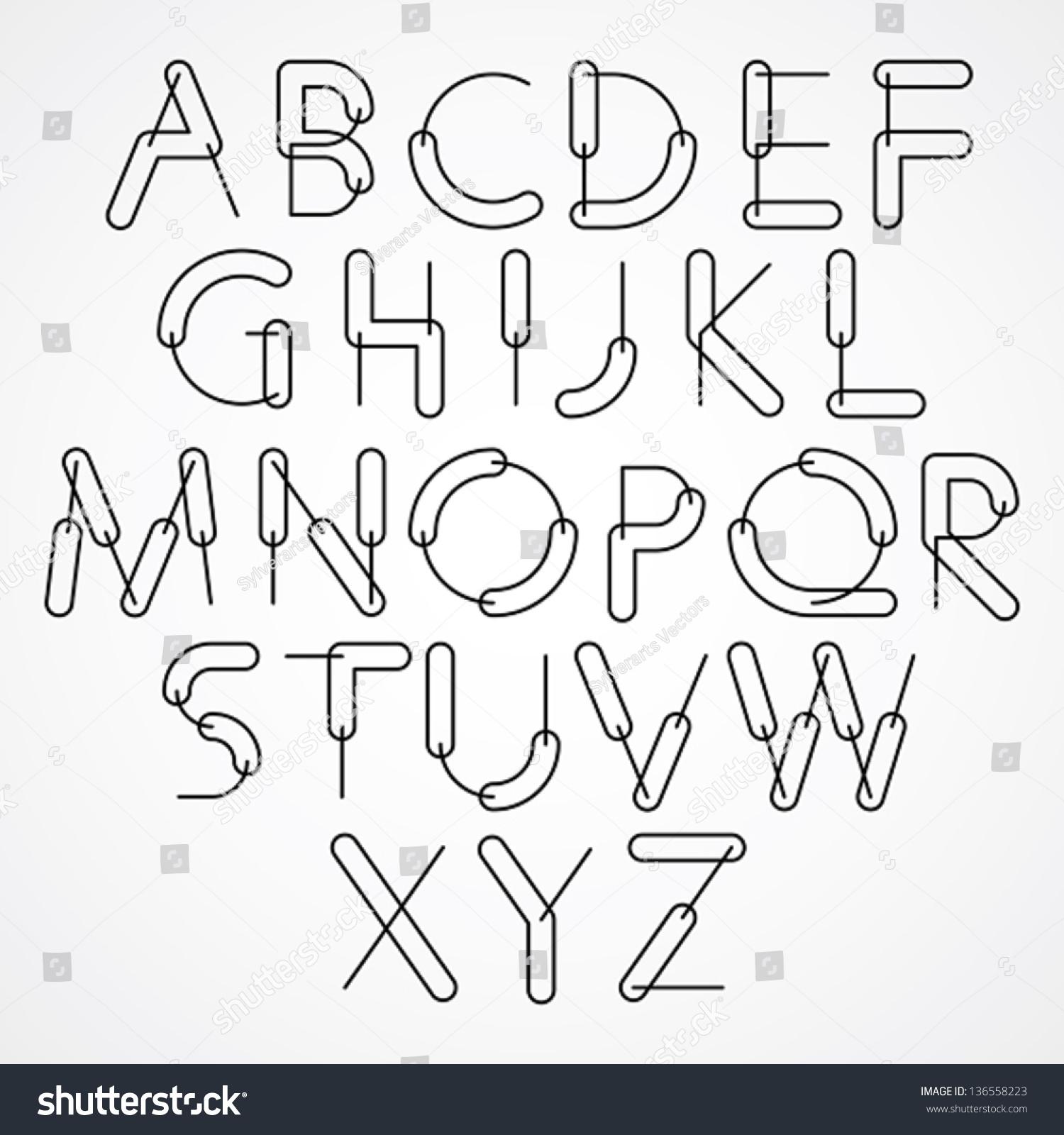 Weird Font Vector Alphabet Letters Black Stock Vector ...