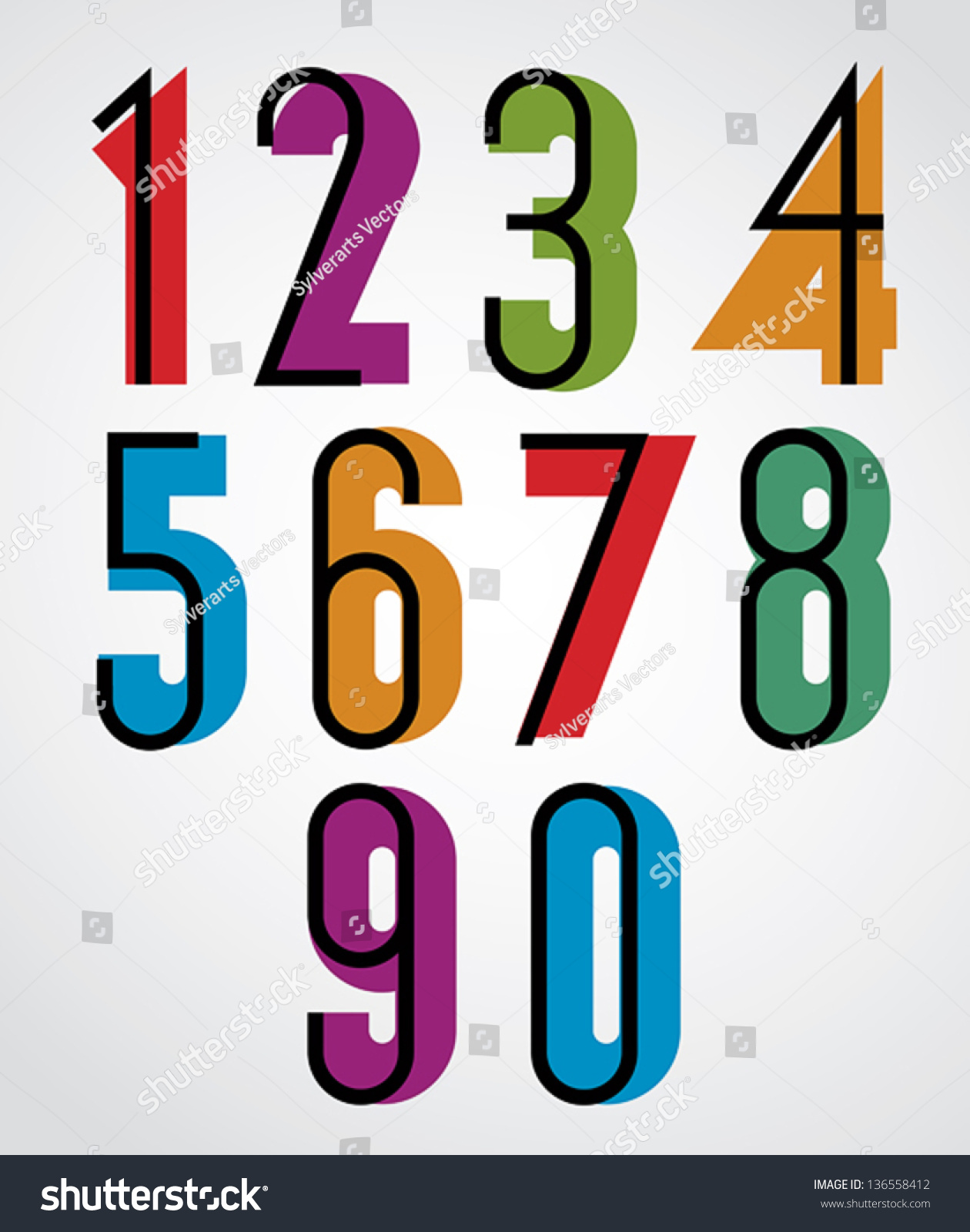 Retro Numbers Bold Condensed Numerals Set Stock Vector ...