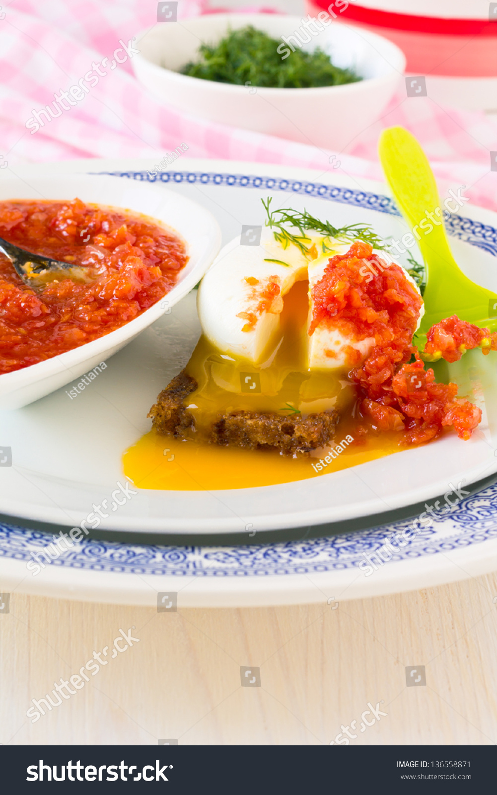 Sliced Poached Egg Breakfast With Tomato Sauce And Dill ...