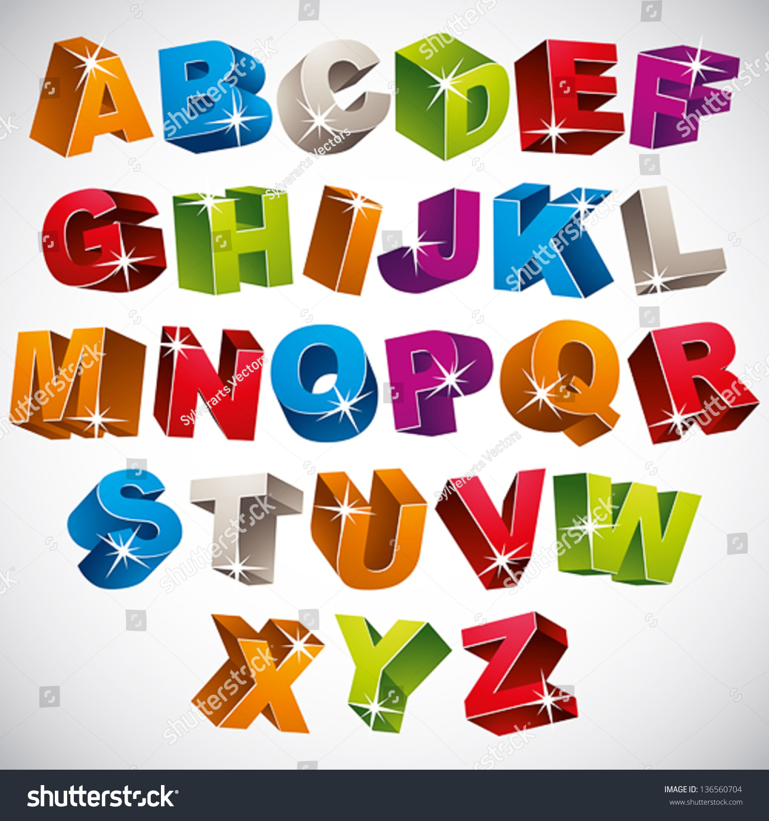 3d Font Bold Colorful Alphabet Vector Stock Vector 136560704 ...