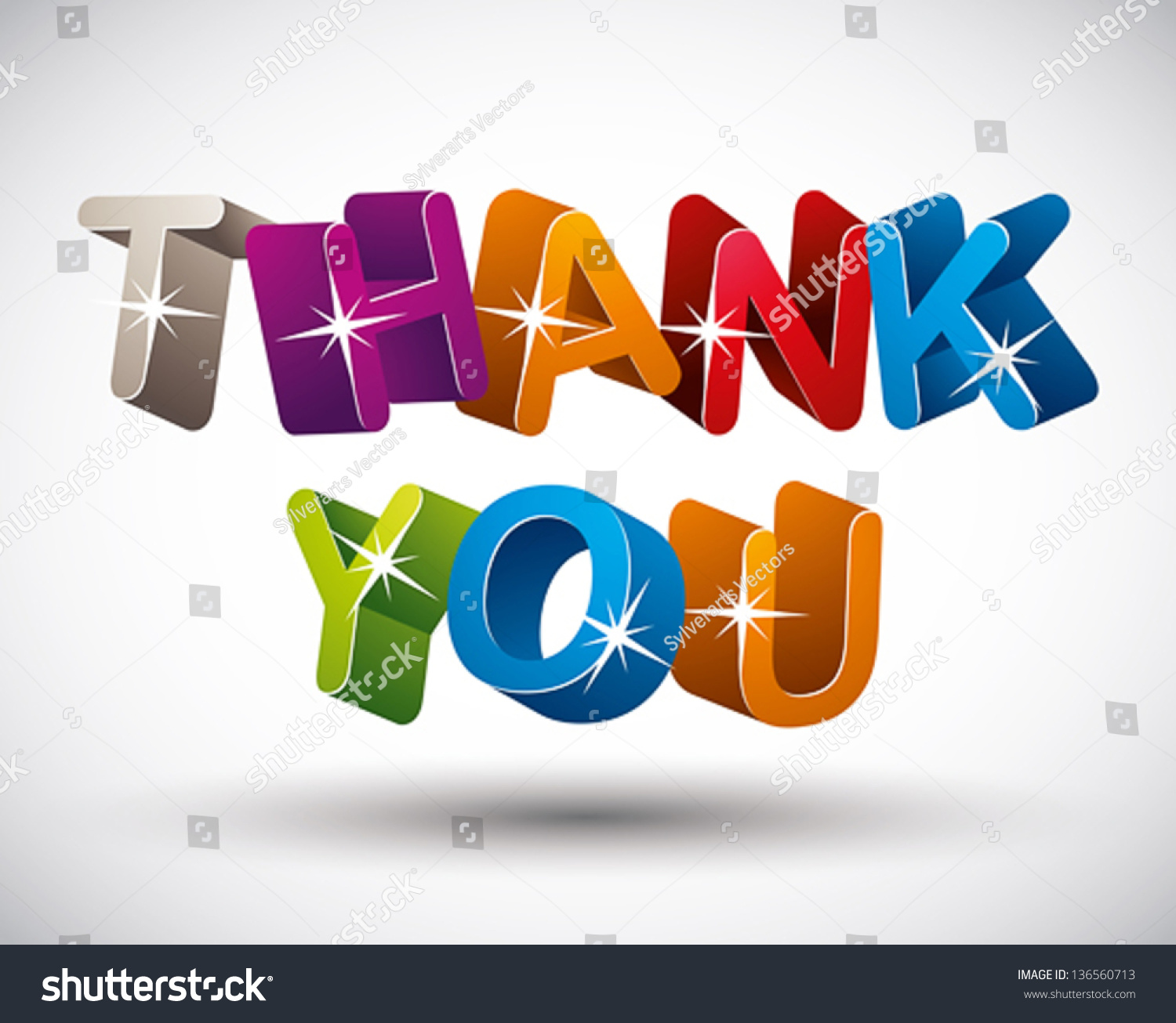 thank you lettering made d colorful stock vector  thank you lettering made 3d colorful letters isolated on white background vector