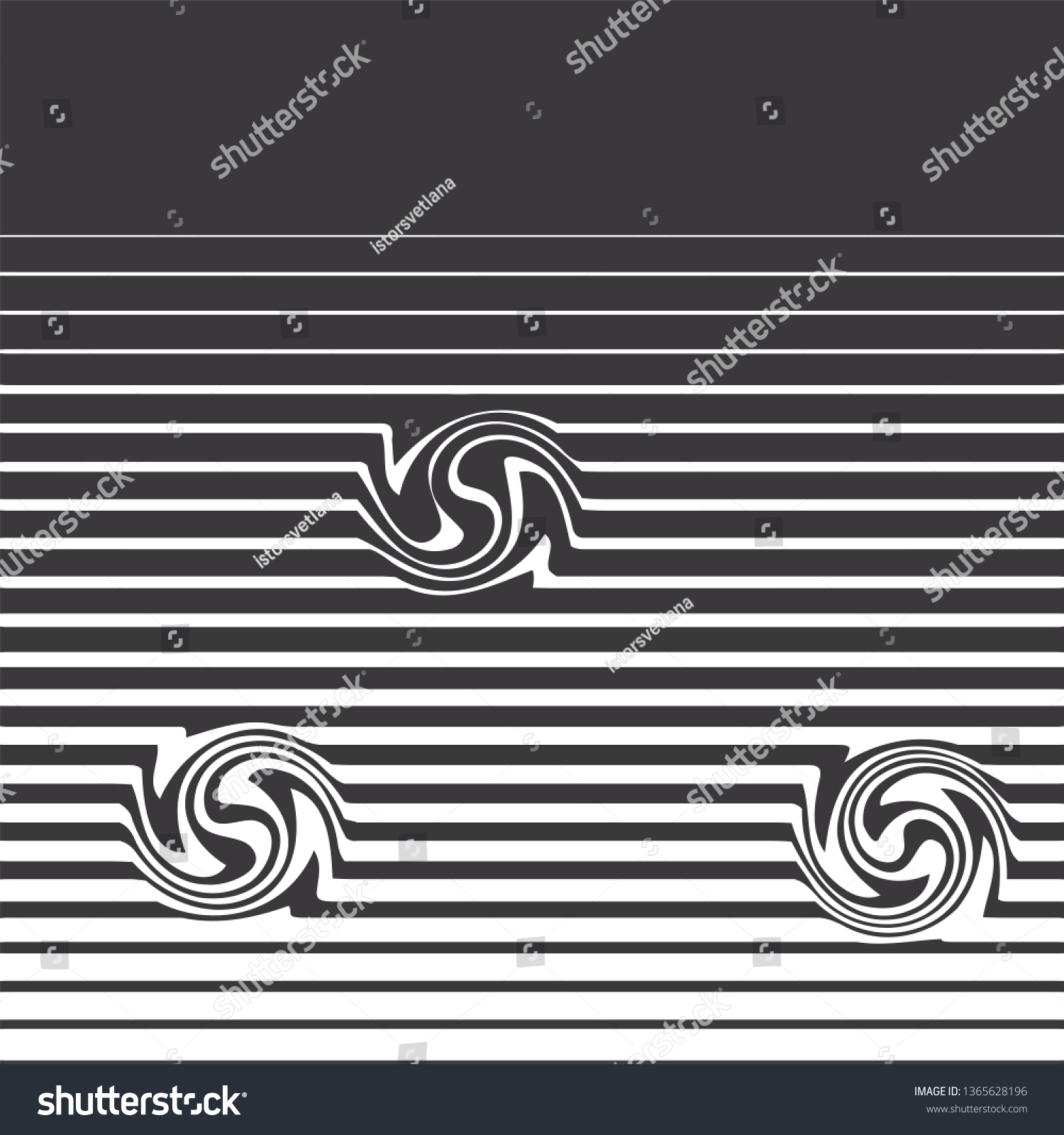 Black and white background lines of different widths with optically abstract curved elements vector