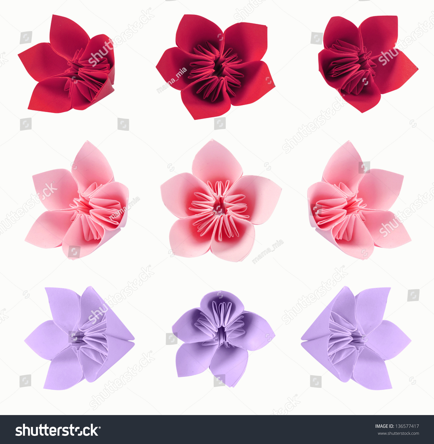 Origami Flowers Color Paper Isolated On Stock Photo Edit Now