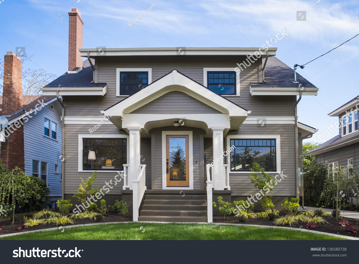 Singlefamily merican raftsman House Blue Sky Stock Photo ... - ^