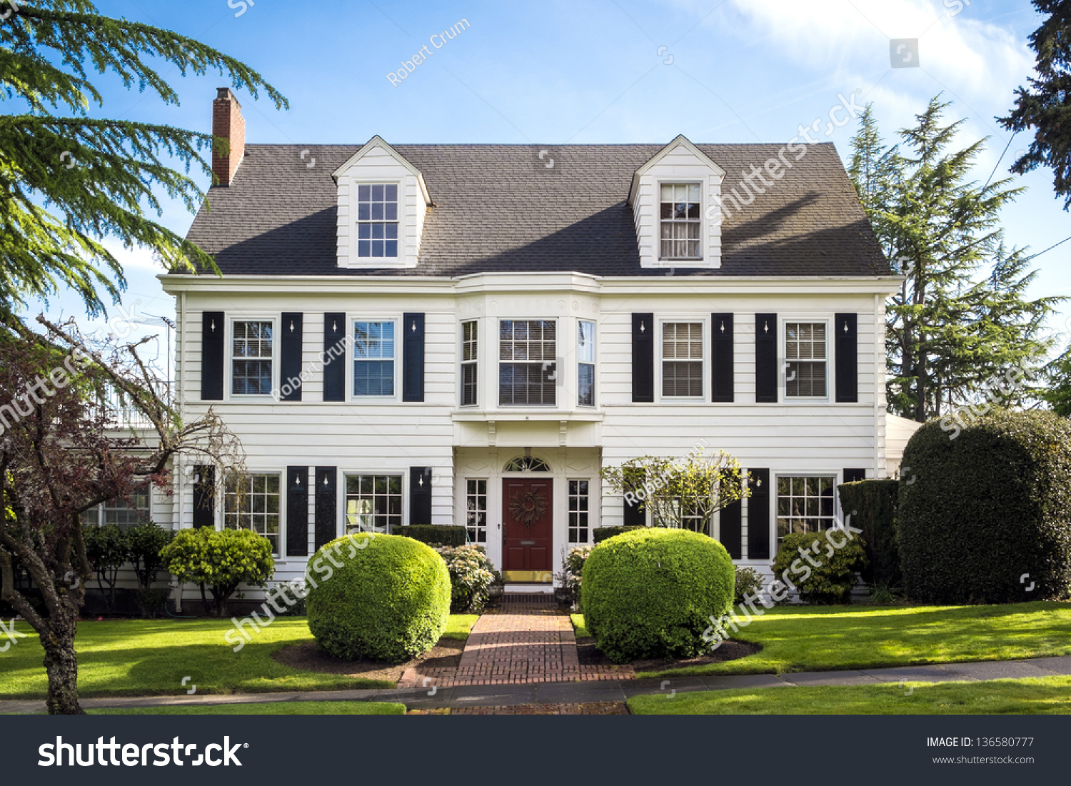 Classic american suburban house blue sky stock photo for The american house