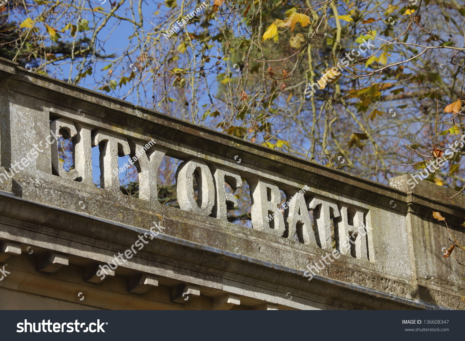 City Bath Sign Stone On Top Stock Photo (Edit Now) 136608347 ...
