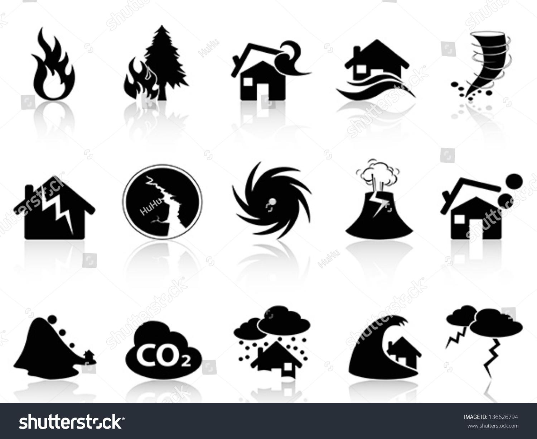 Natural Disaster Icons Set Stock Vector 136626794