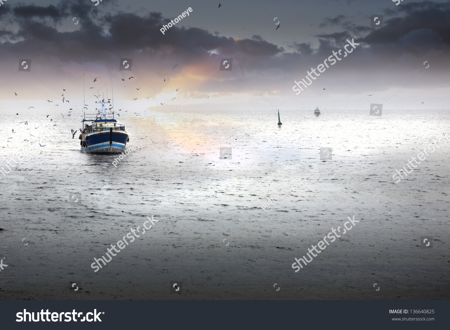 Tired fishing fleet getting back france stock photo for Where to get a fishing license near me