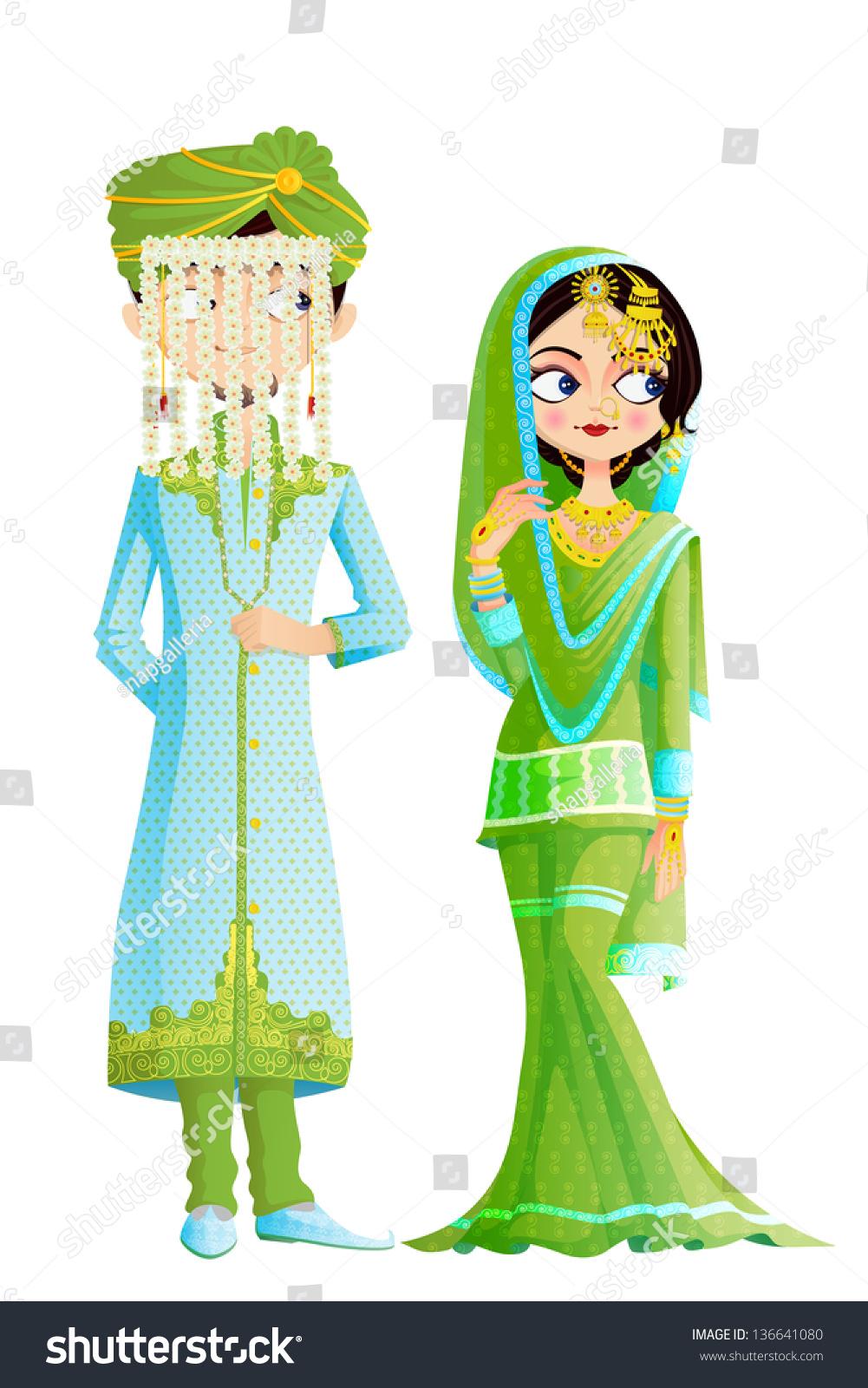 Easy Edit Vector Illustration Muslim Wedding Stock Vector