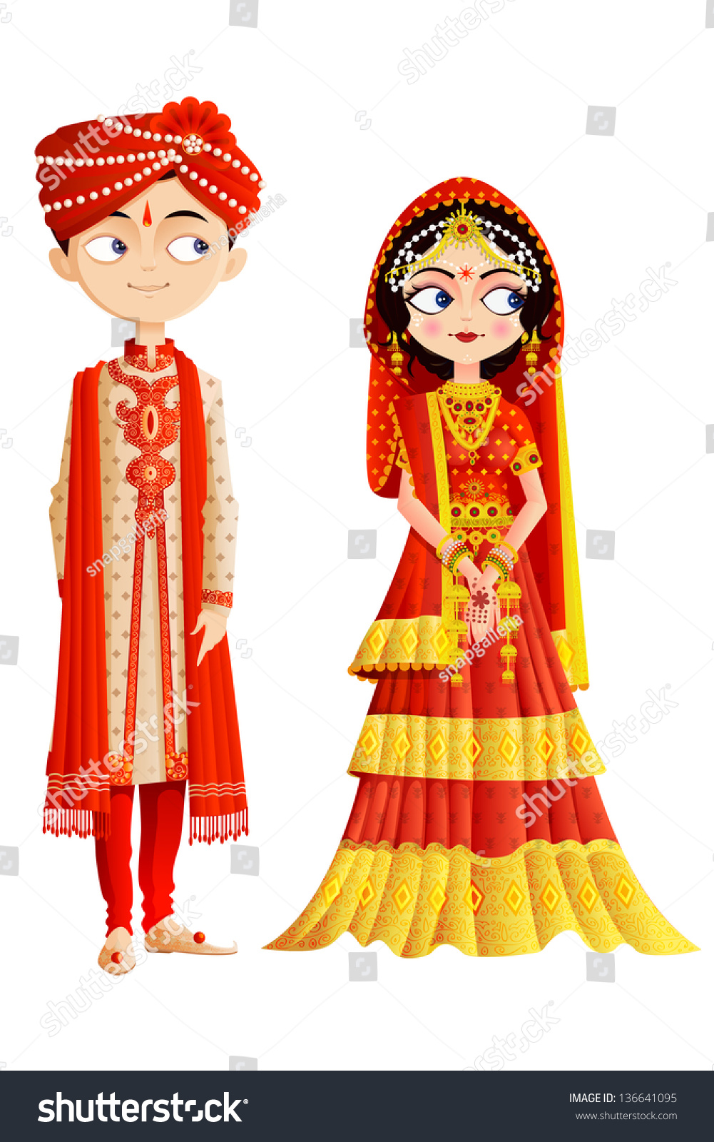 Easy Edit Vector Illustration Indian Wedding Stock Vector ...