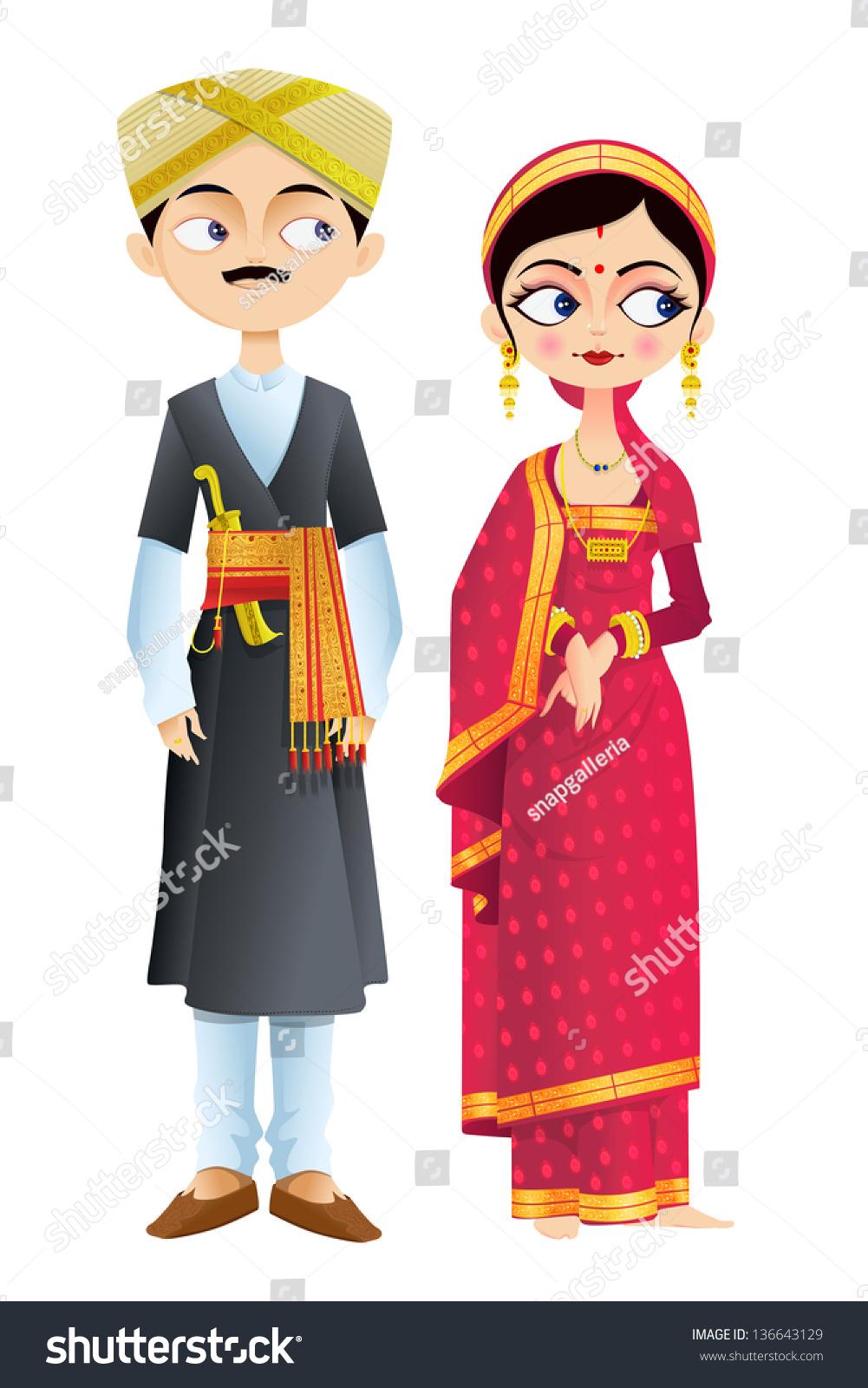 Easy Edit Vector Illustration Wedding Couple Stock Vector
