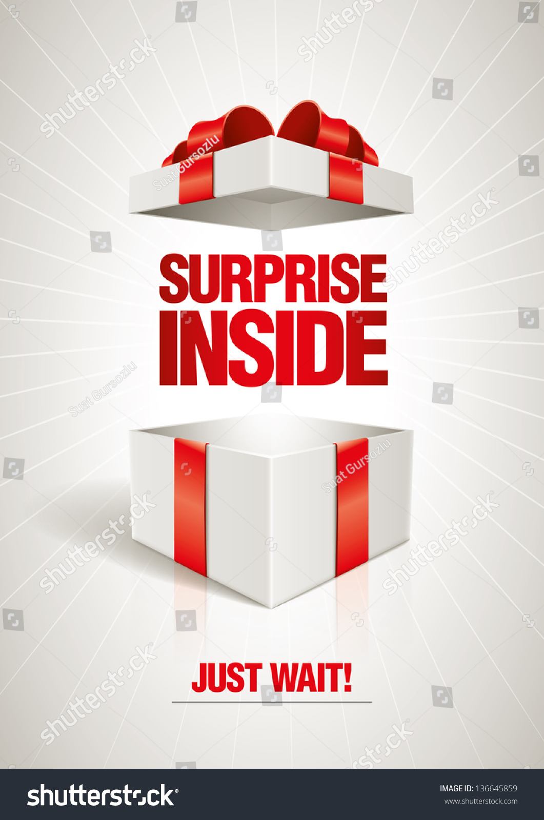 vector surprise inside open gift box stock vector 136645859