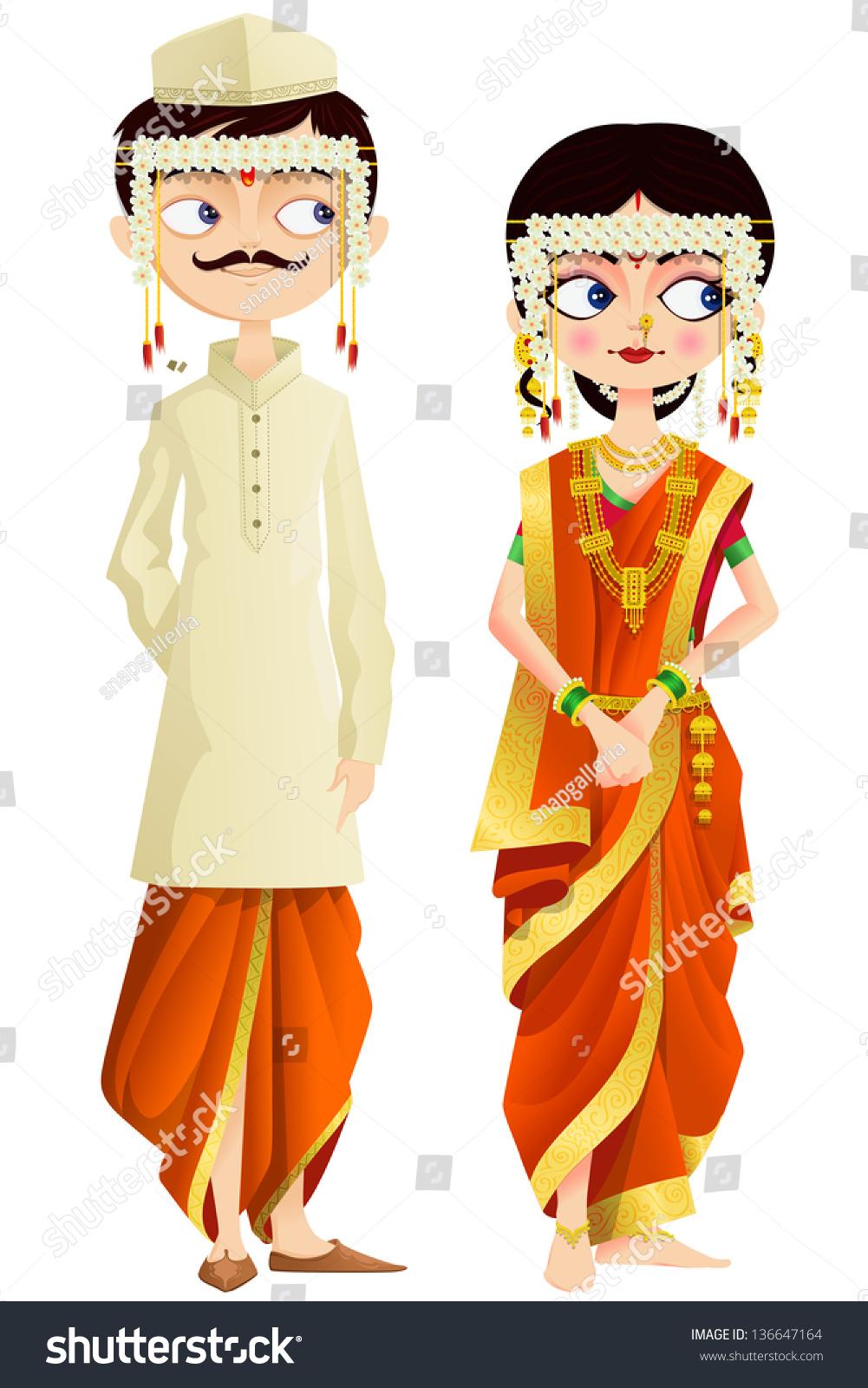 Easy To Edit Vector Illustration Of Maharashtrian Wedding