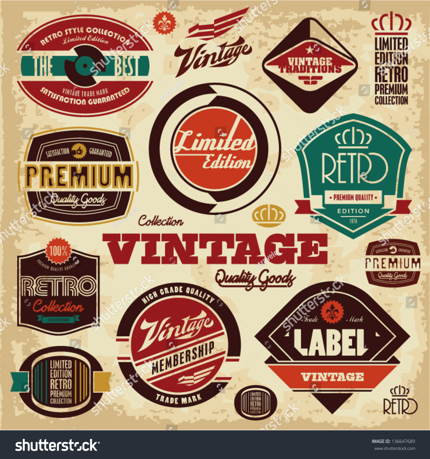 Vintage labels collection retro design elements stock for Imagenes retro vintage