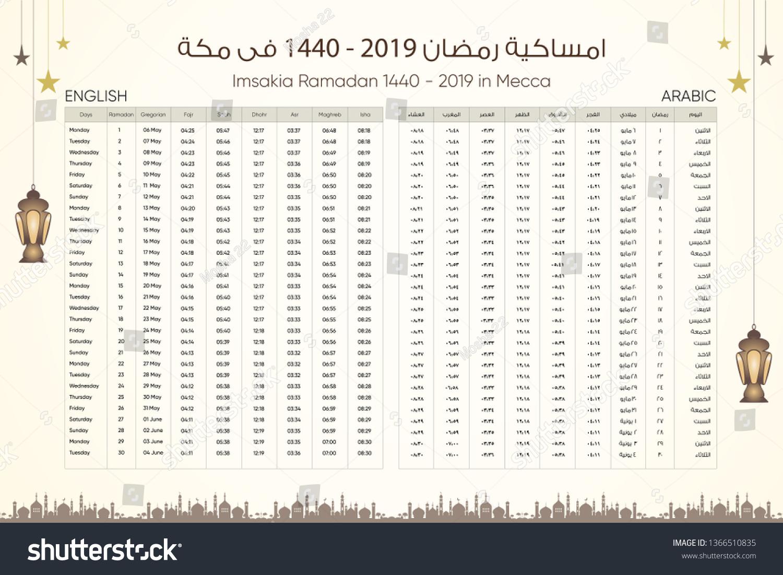 Imsakia Amsakah Ramadan 14402019 Arabic English Stock Vector
