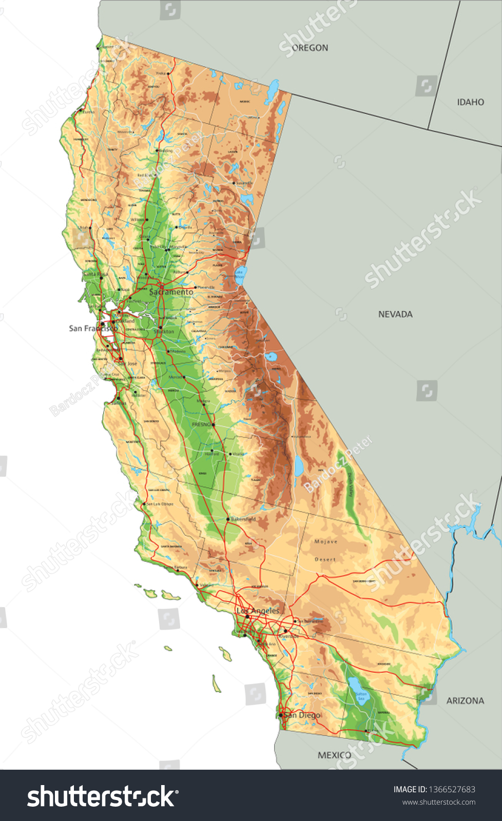 Picture of: Vector De Stock Libre De Regalias Sobre High Detailed California Physical Map Labeling1366527683