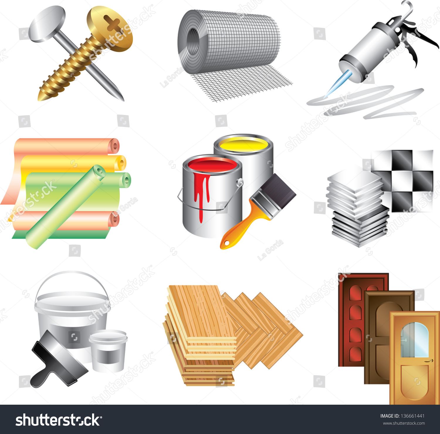 Building materials icons detailed vector set stock vector for Materials needed to build a house