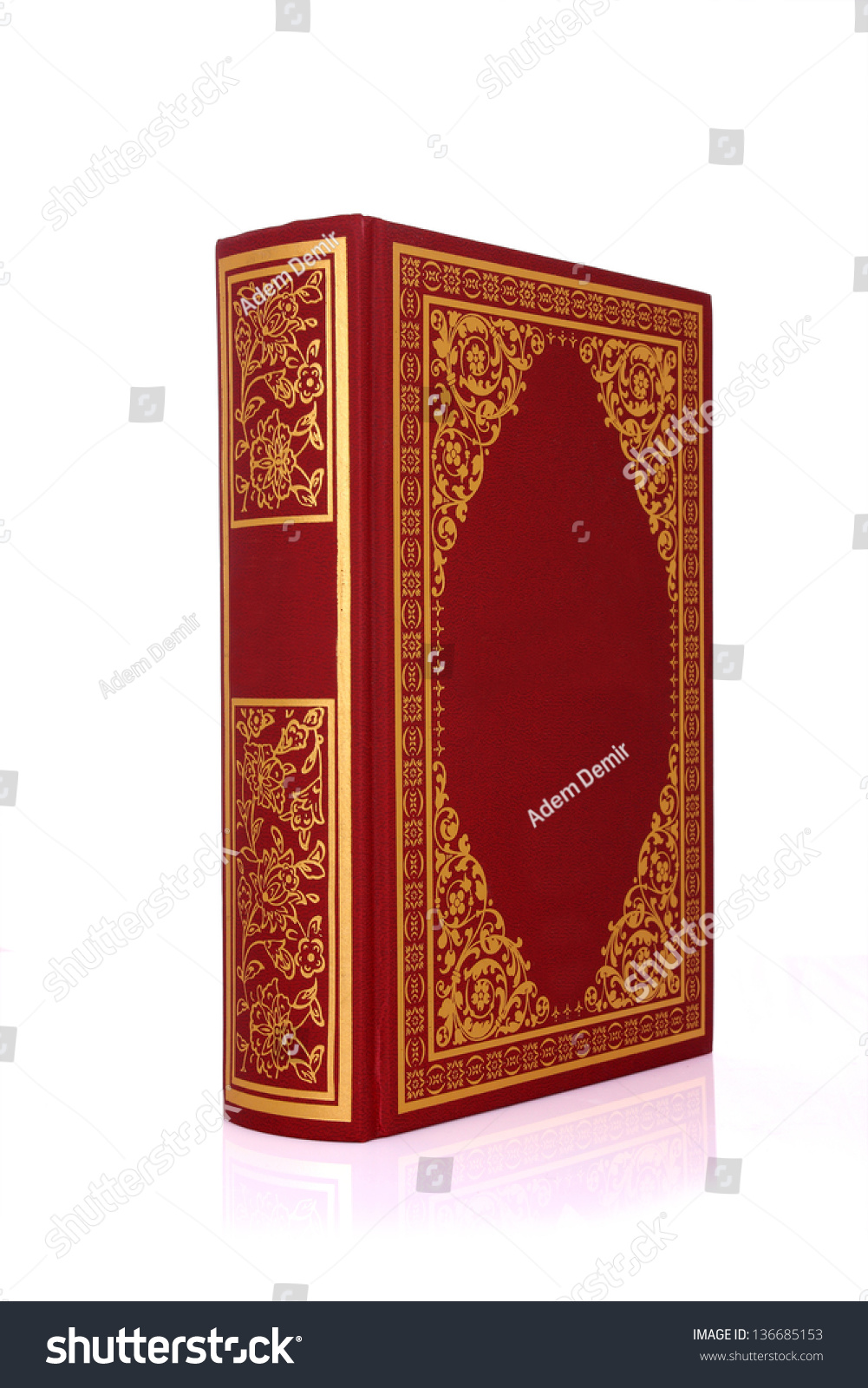 Old Red Book Cover : Old red book with gold color ornament on cover isolated