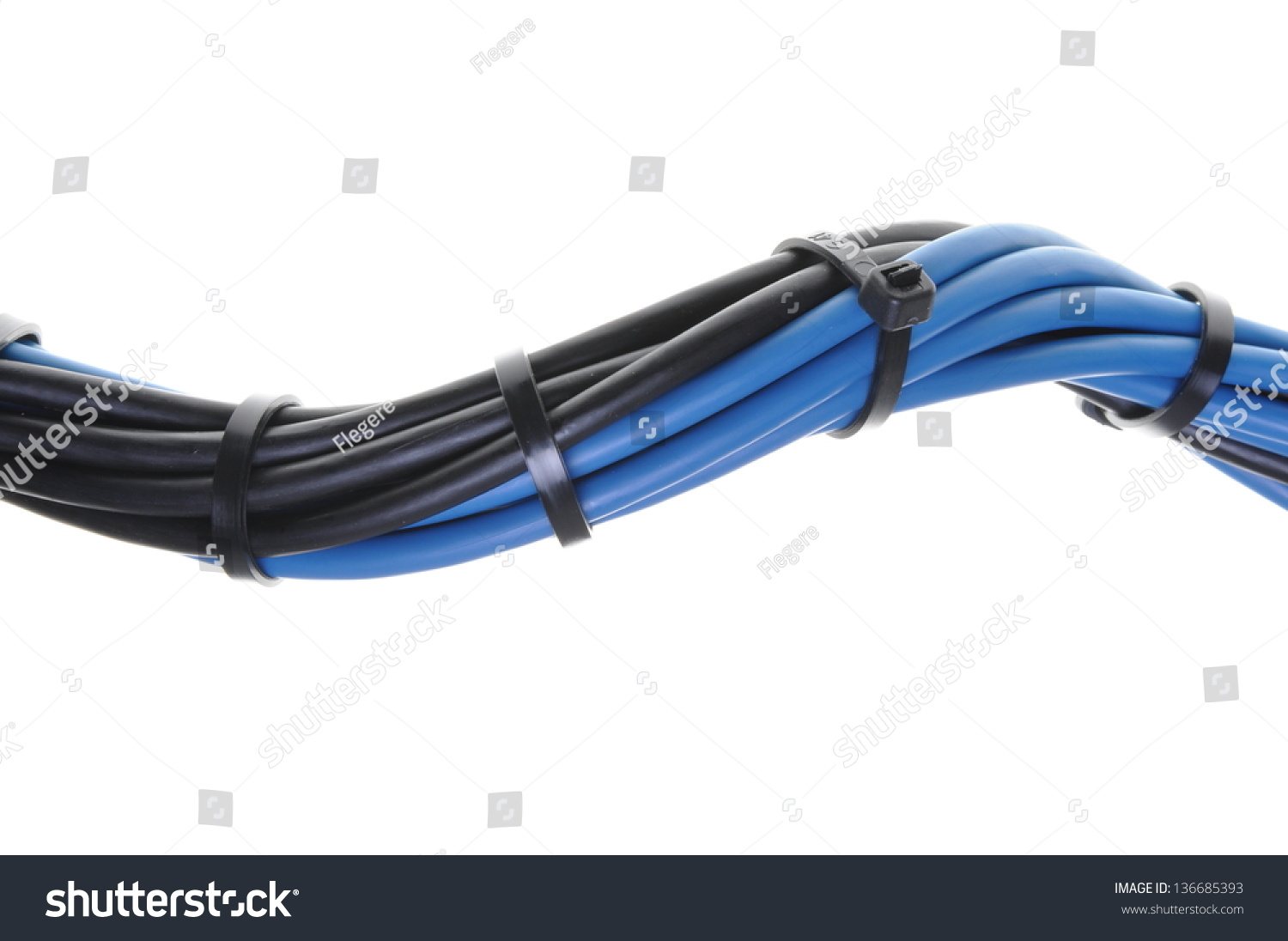 Blue Black Electrical Wires Cable Ties Stock Photo 136685393 ...