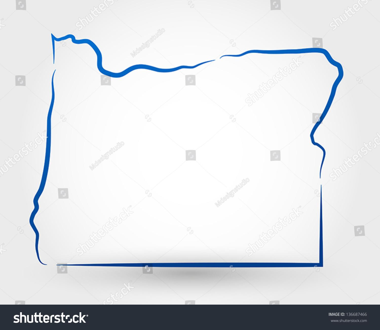 Unity Line Art Map : Map oregon concept stock vector shutterstock
