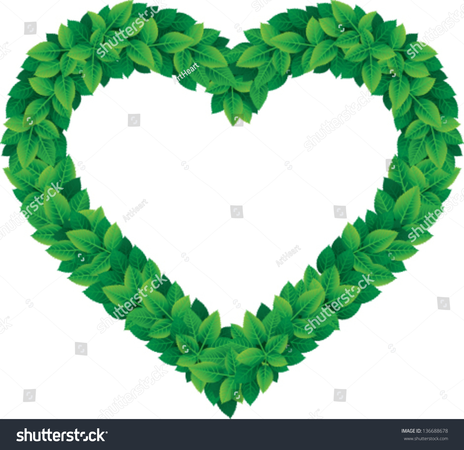 Heart shape made leaves symbolize love stock vector 136688678 heart shape made from leaves to symbolize love of nature inspired eco friendly things buycottarizona Image collections