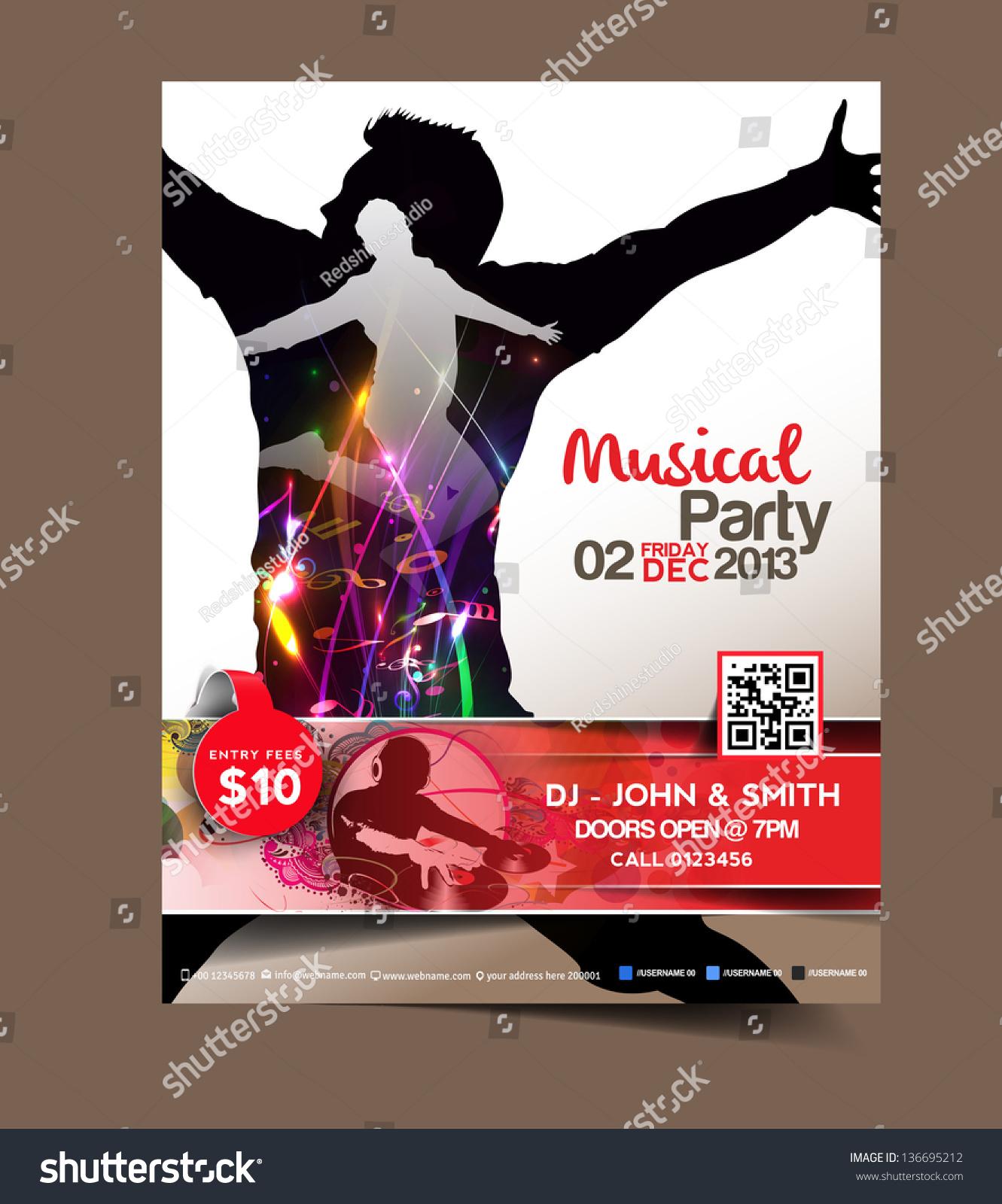 Vector Brochure Flyer Magazine: Vector Music Party Brochure, Flyer, Magazine Cover