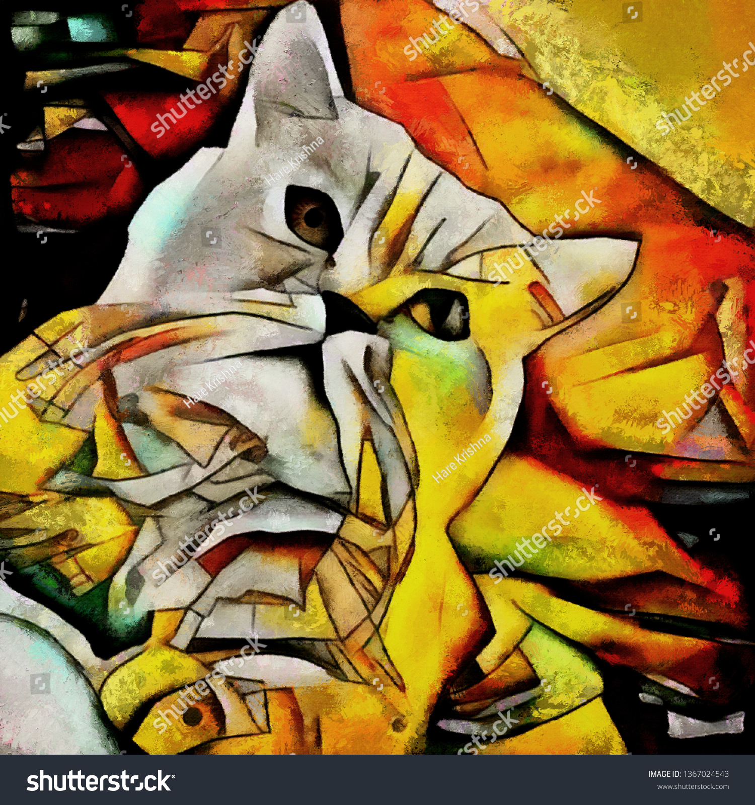 Face Cat Contemporary Style Abstract Art Stock Illustration