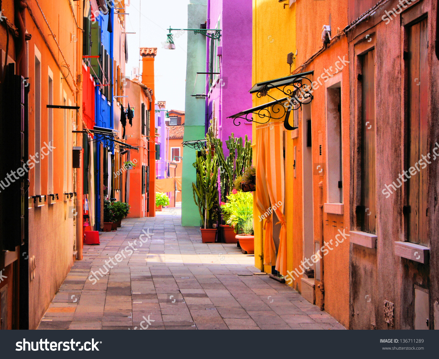 Colorful Street In Burano, Near Venice, Italy Stock Photo 136711289 ...: www.shutterstock.com/pic-136711289/stock-photo-colorful-street-in...