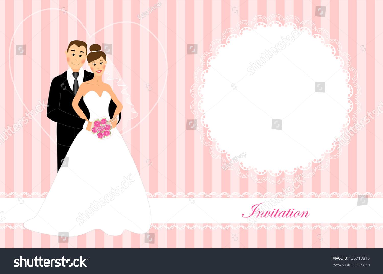 Wedding Invitation Bride Groom Brunette Dark Stock Illustration ...
