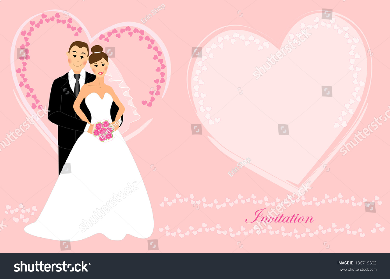 Wedding Invitation Bride Groom Dark Brunette Stock Illustration ...
