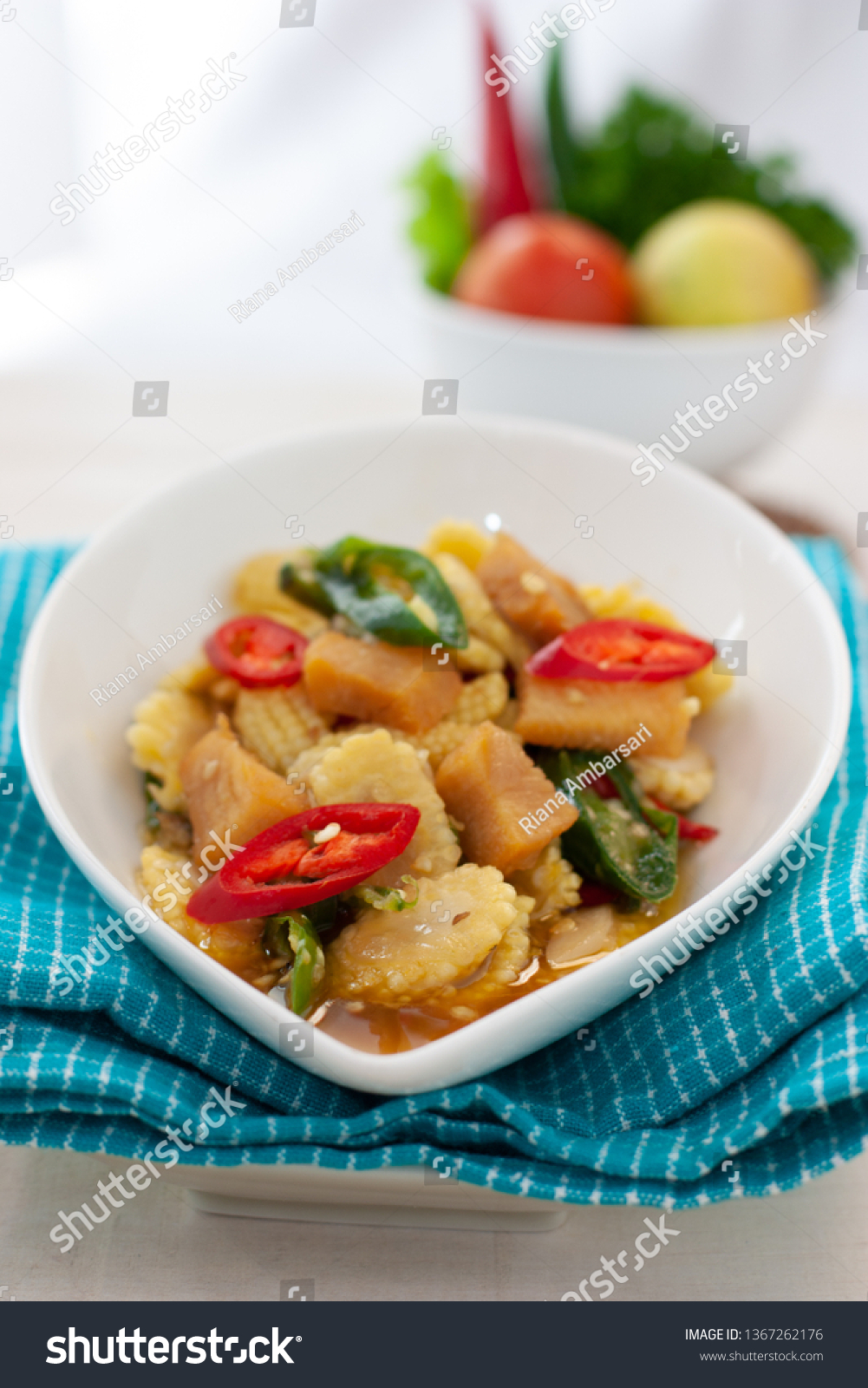 Indonesia Traditional Cuisine Cah Jagung Muda Food And Drink Stock Image 1367262176