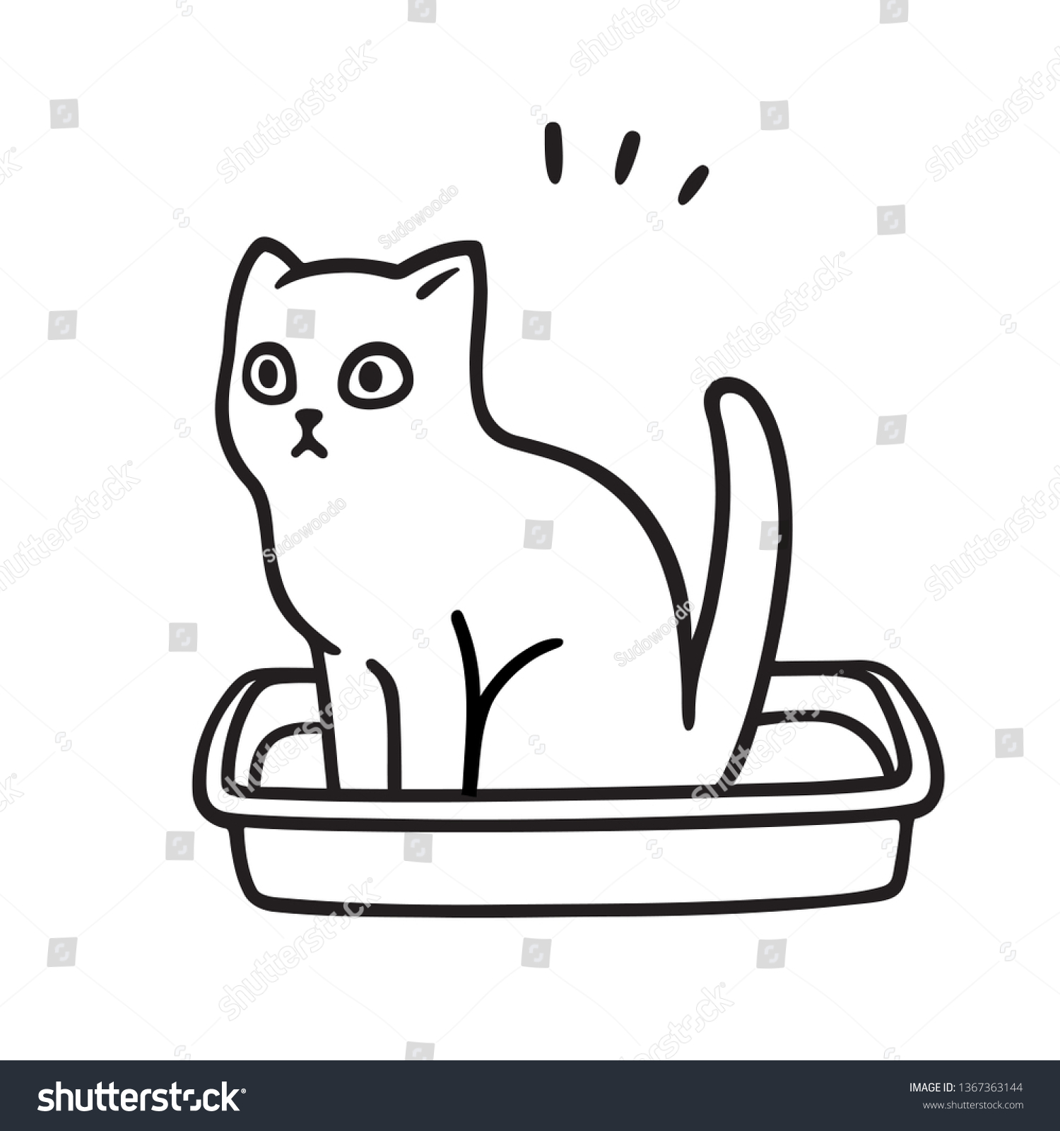 Cartoon Cat Pooping Litter Box Cute Stock Vector Royalty Free