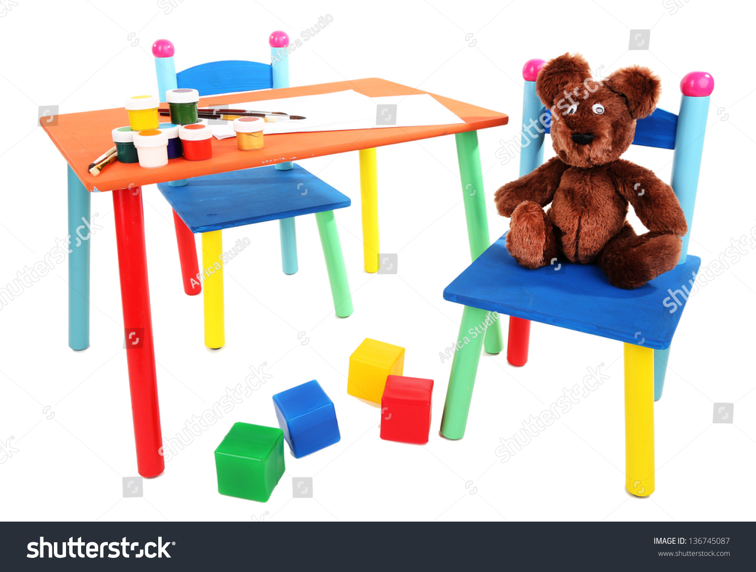 Small Colorful Table Chairs Little Kids Stock Photo