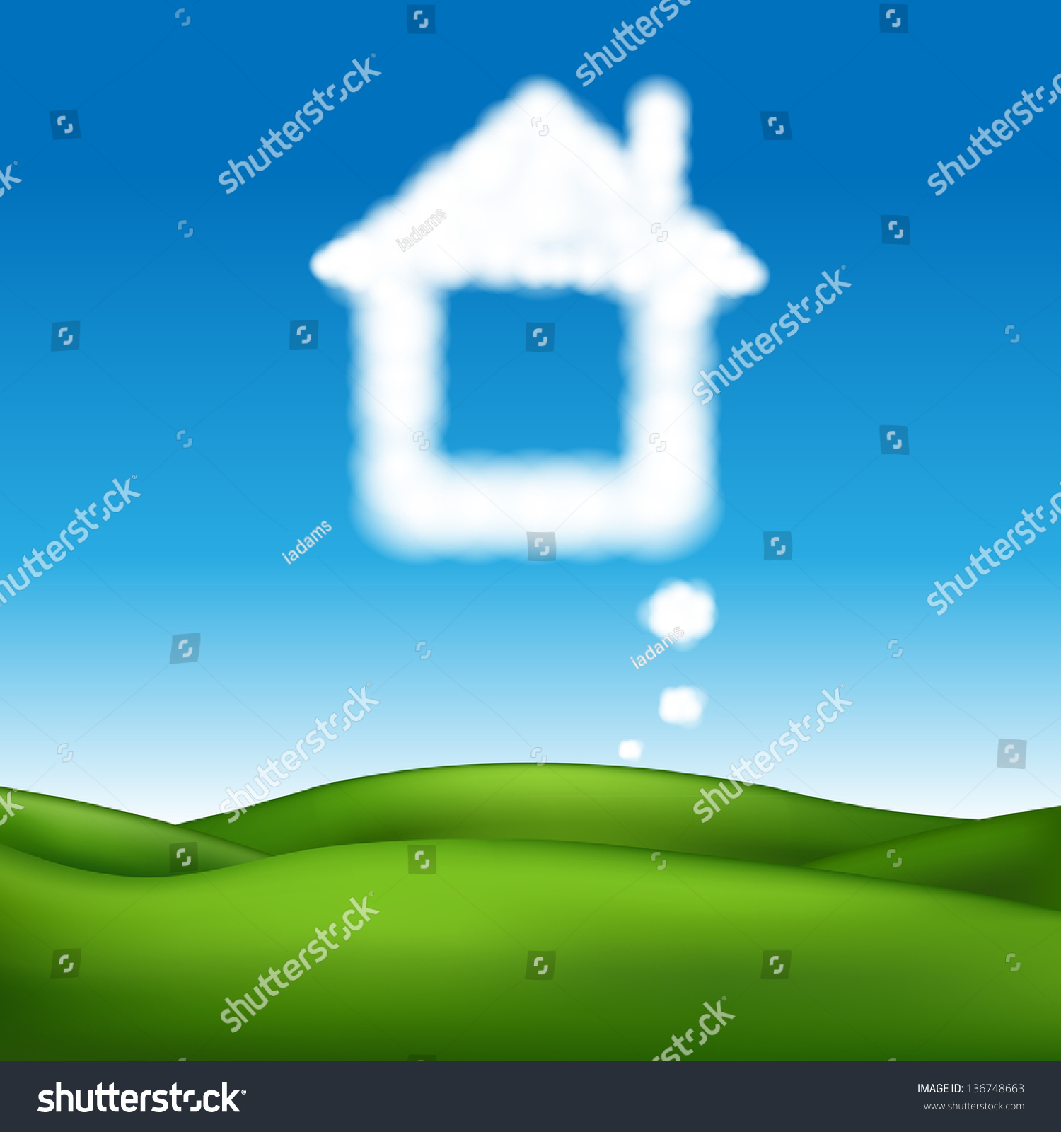 Beautiful Vector Landscape Abstract House Gra nt Stock Vector