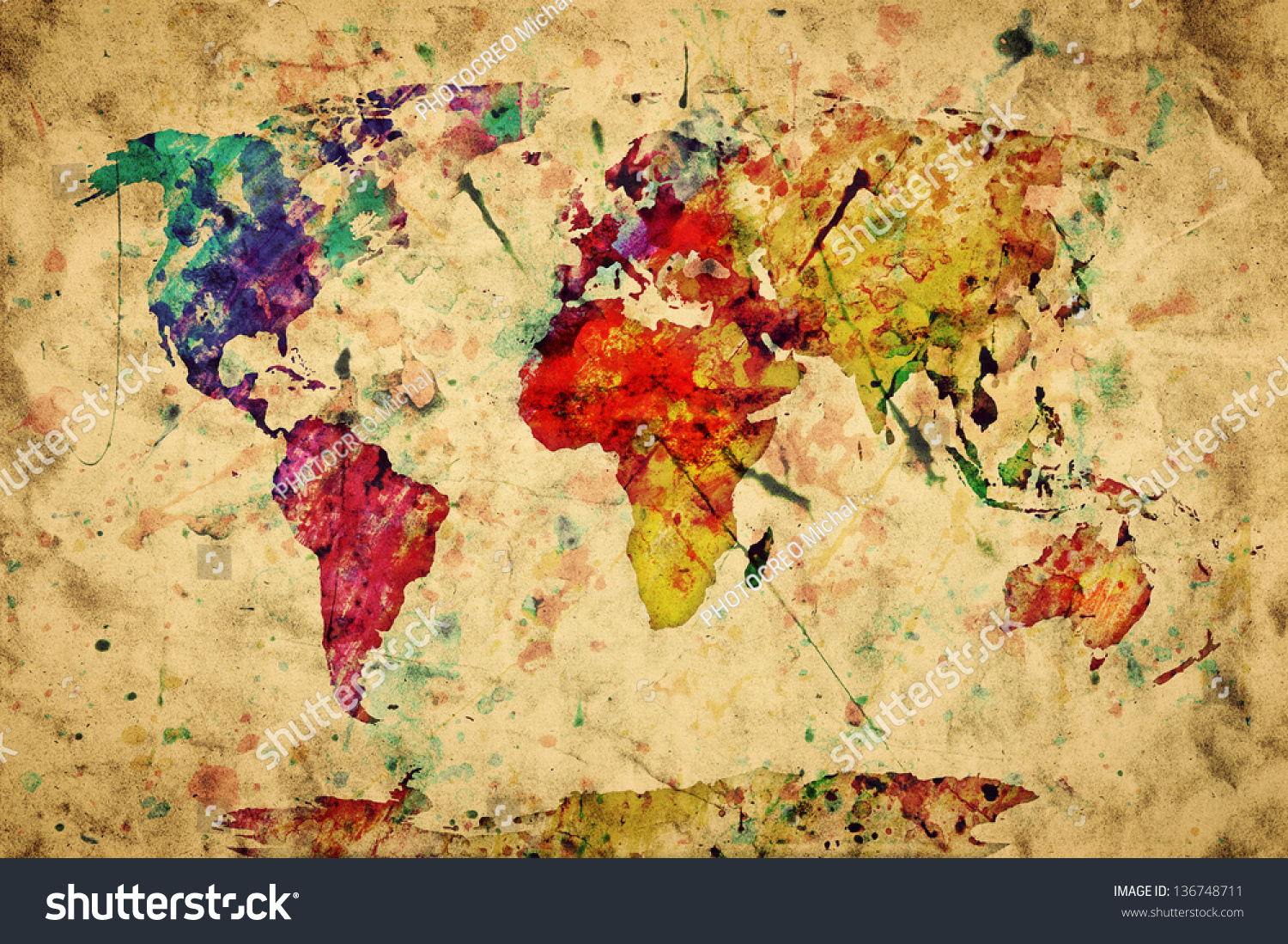 Vintage World Map Colorful Paint Watercolor Stock Illustration - Colorful world map painting