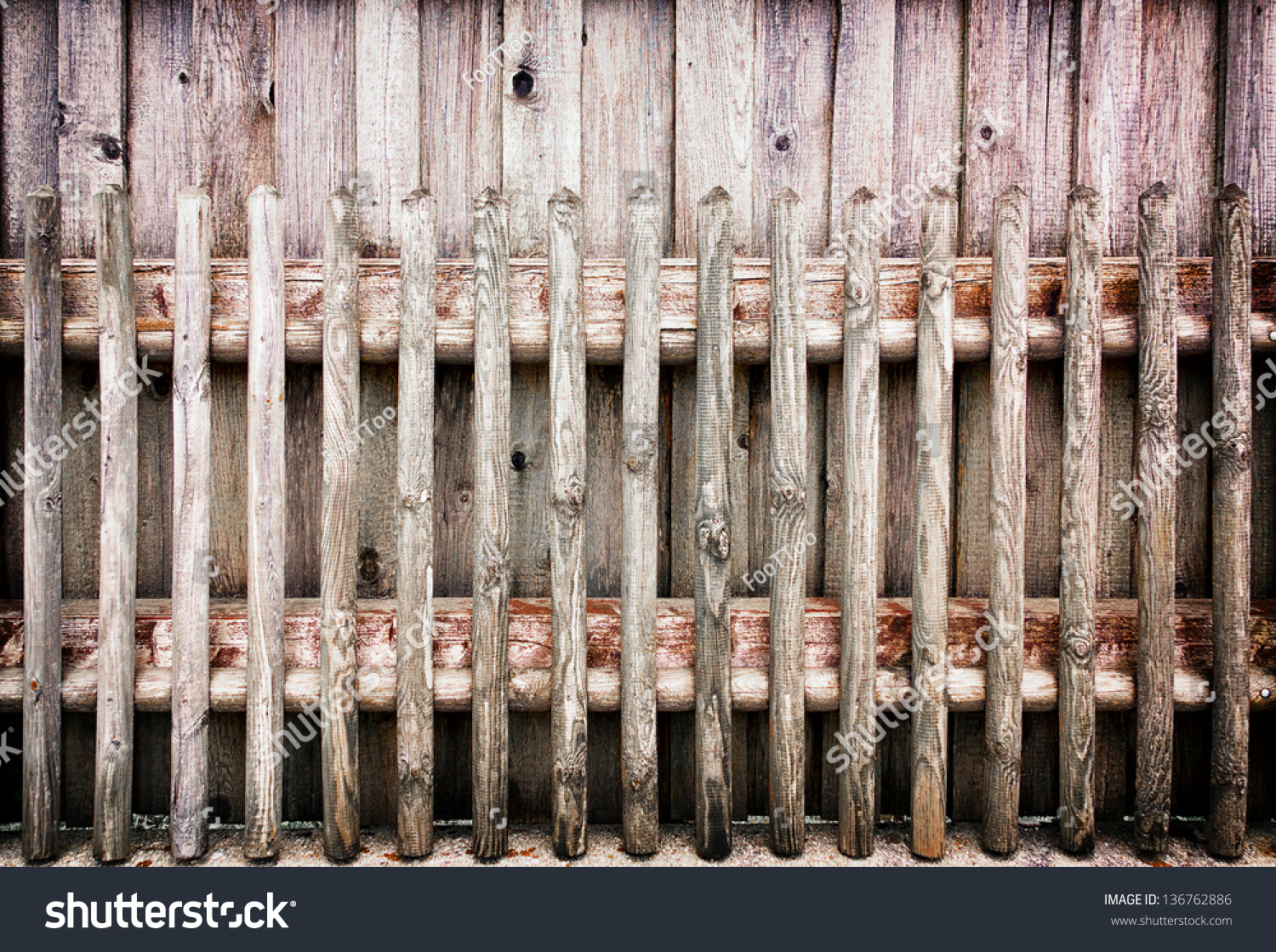 Old Wooden Picket Fence Photo Stock Photo 136762886