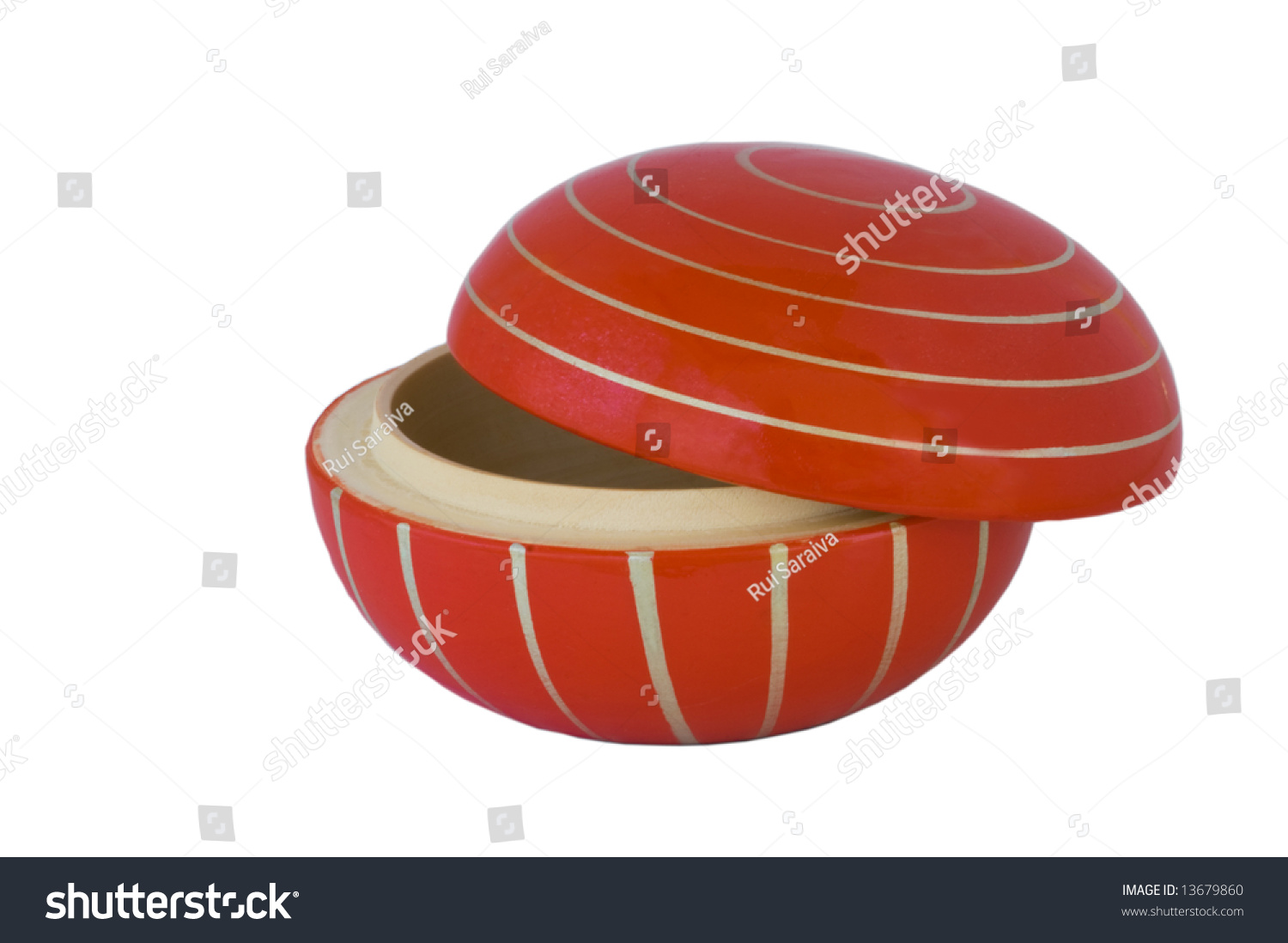 Red round wooden box stock photo 13679860 shutterstock for Circular wooden box