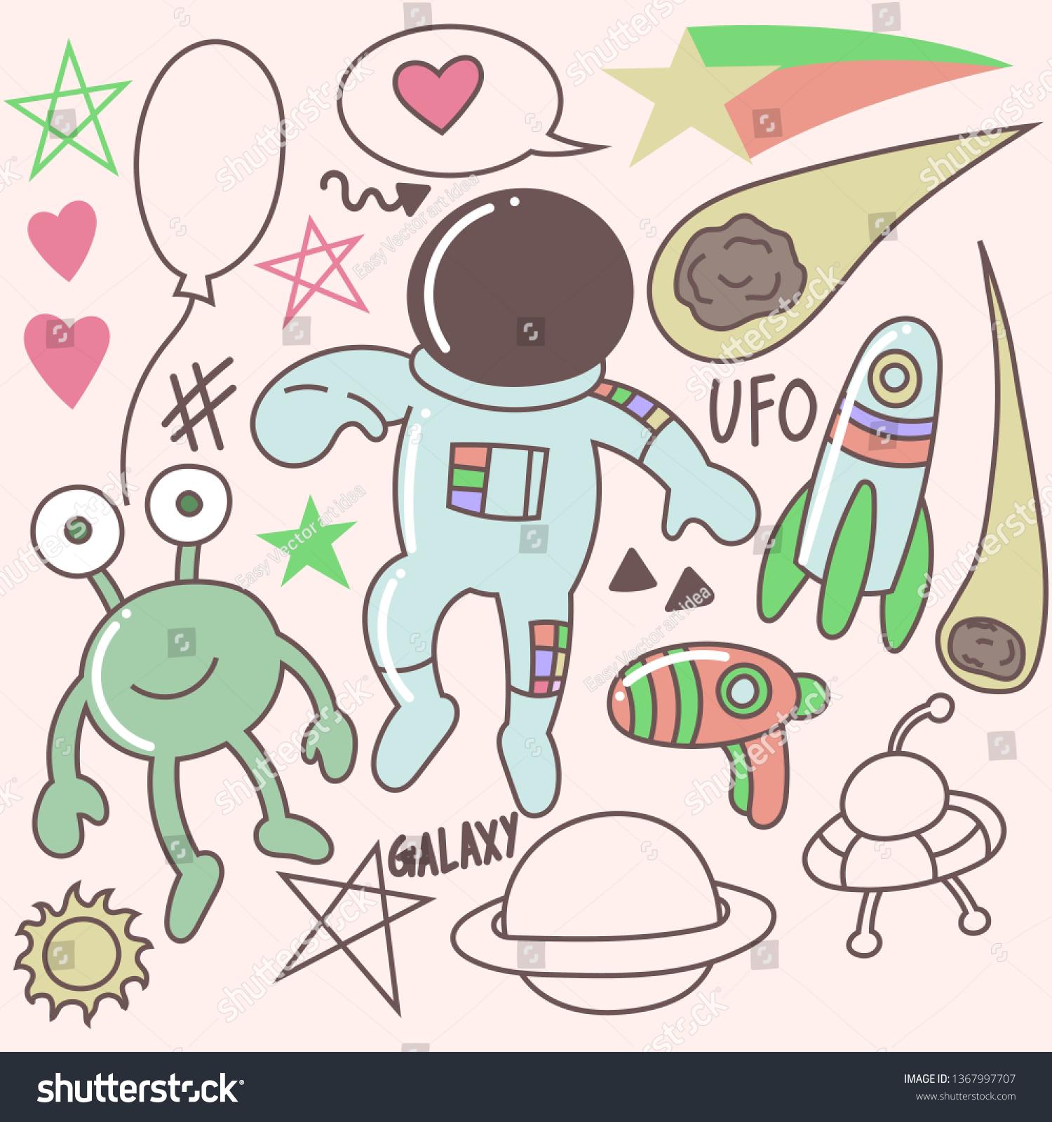 Set Cute Astronaut Doodles Cartoon Clip Stock Vector Royalty Free 1367997707
