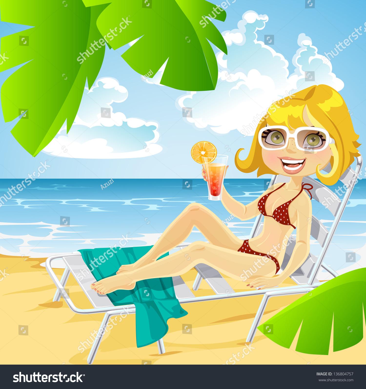Рисунок девушки на пляже 10 фотография