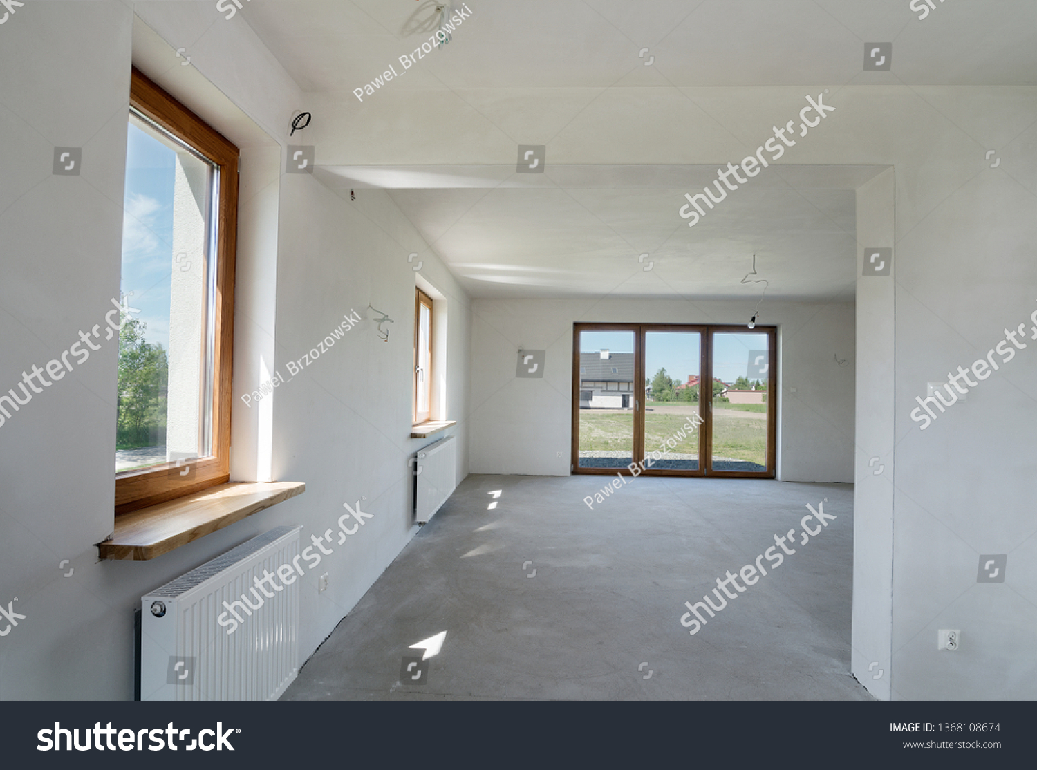 Unfinished building interior, new house… Stock Photo ...