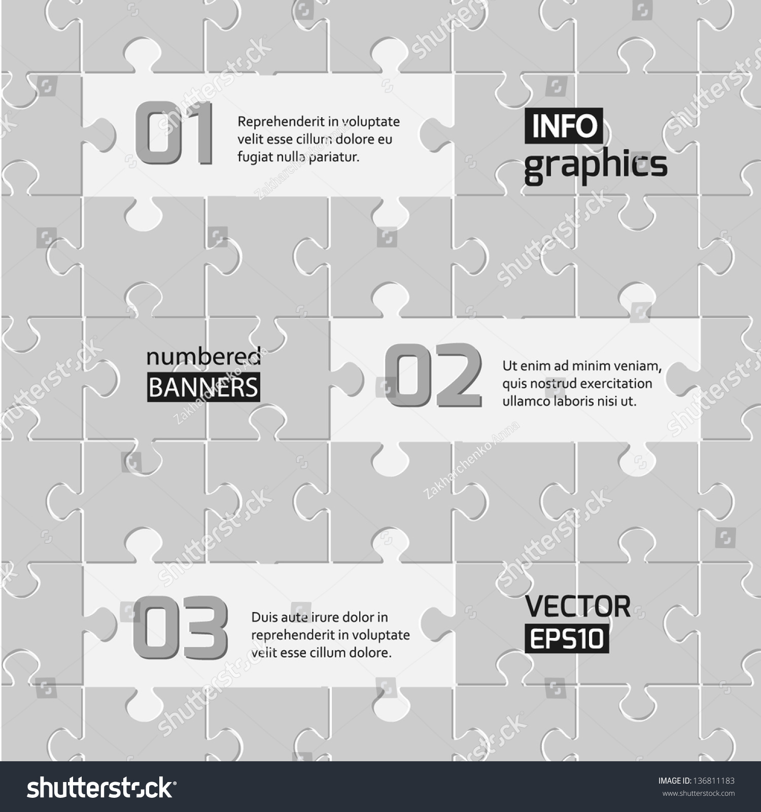 Infographics Web Design Modern Puzzle Template Stock Vector ...