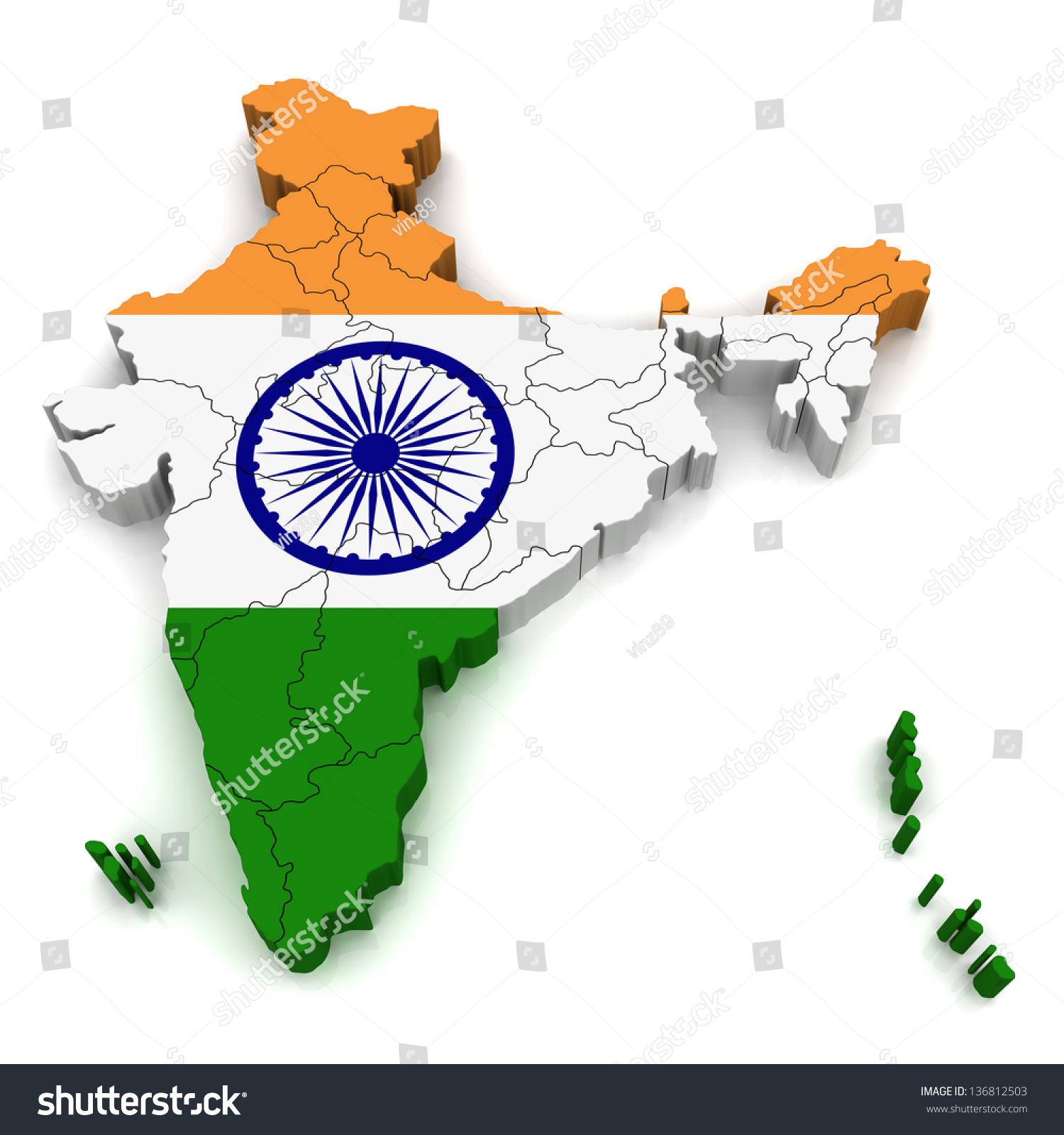 3d Map Of India Stock Photo 136812503 Shutterstock