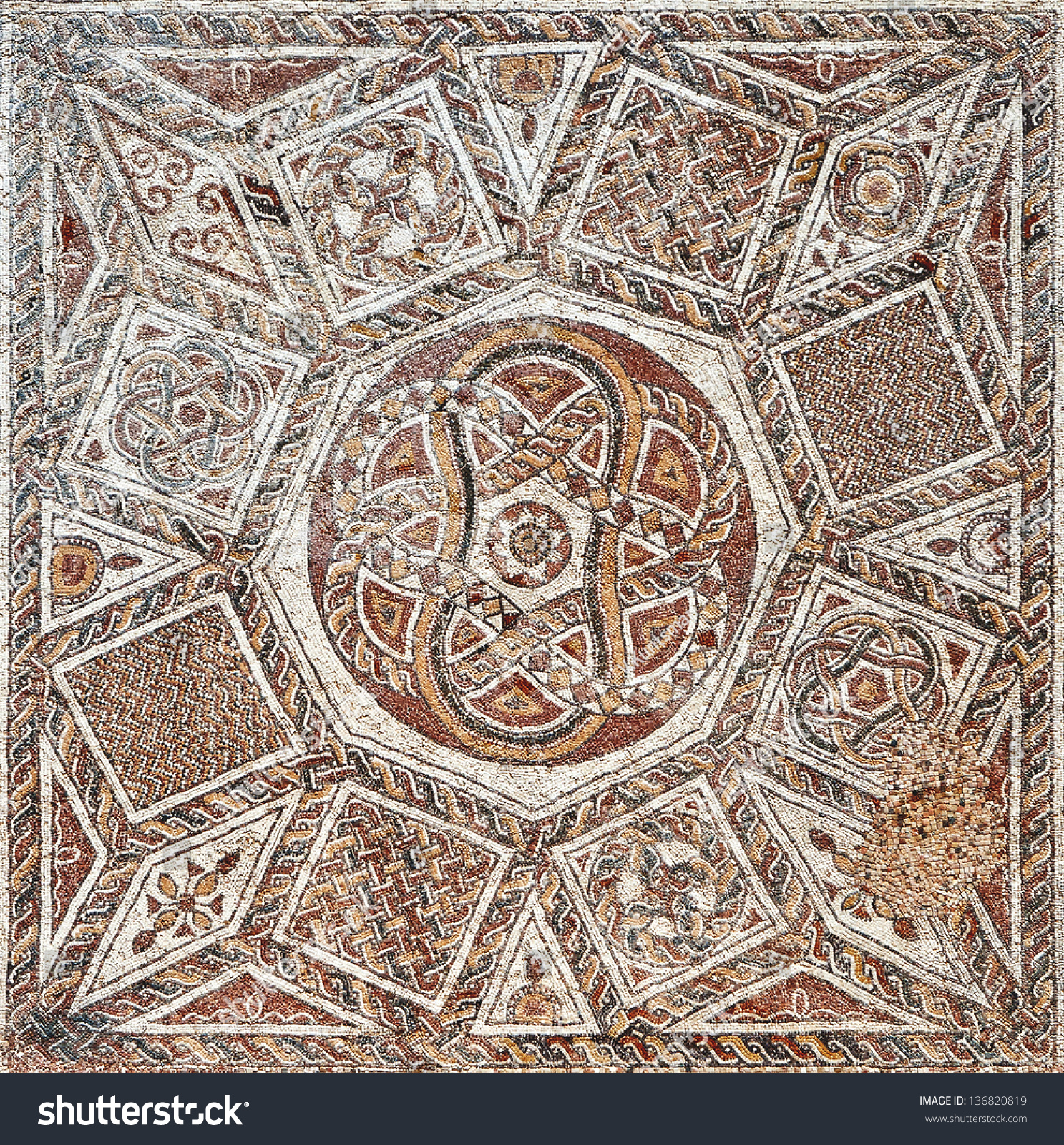 Fragment Ancient Floor Mosaic Colorful Small Stock Photo