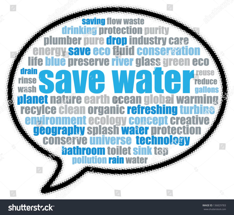 Save Water Speech Bubble Stock Illustration 136829783