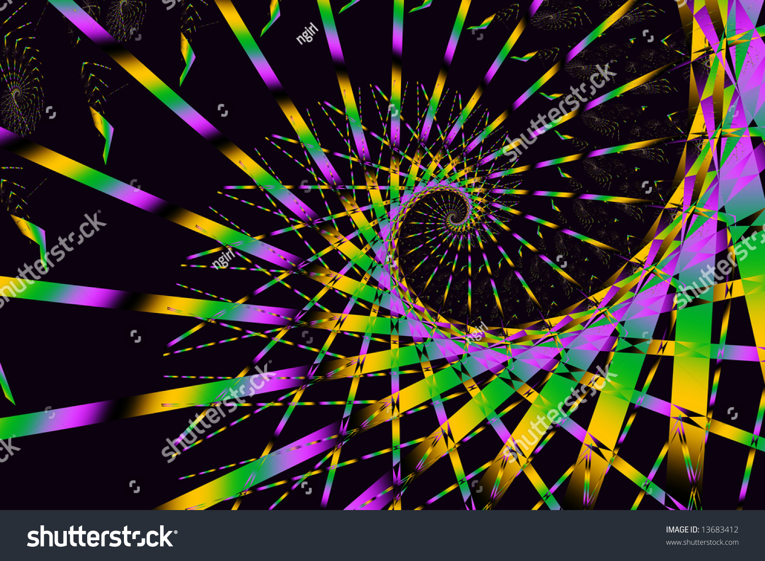 Mardi Gras Theme Fractal In Purple, Gold, And Green On Black Background. Stock Photo 13683412 ...