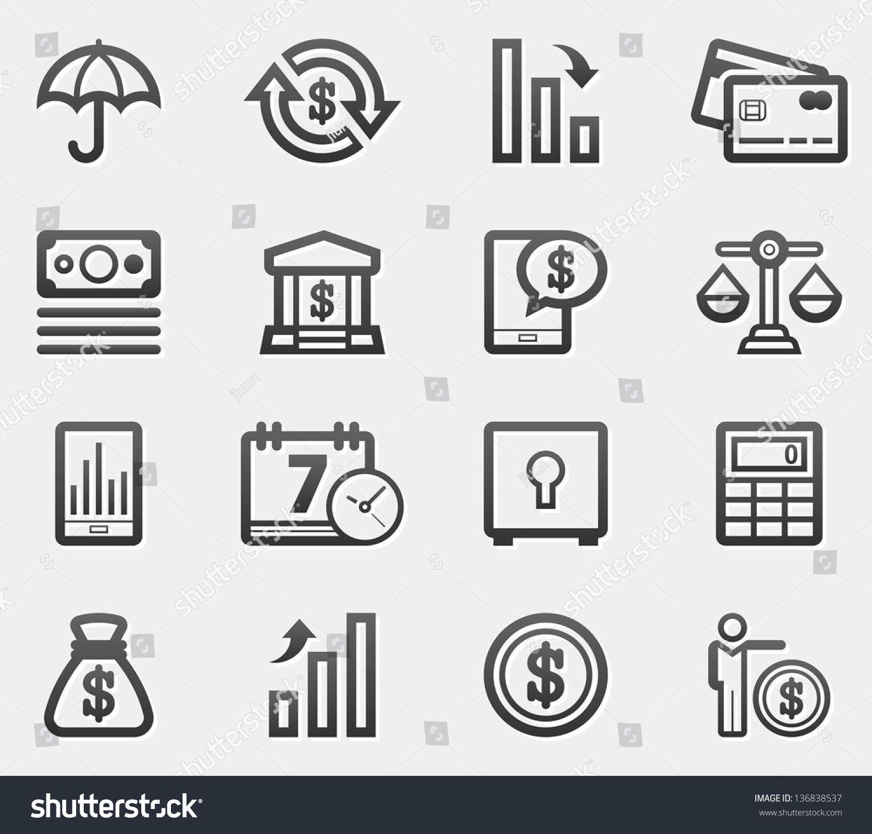 Finance Icon Set: Finance Icon Set Stock Vector 136838537