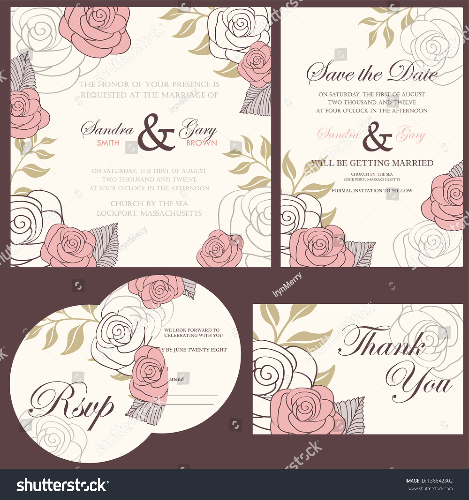 Wedding Invitation Cards Set Thank You Card Save The Date RSVP